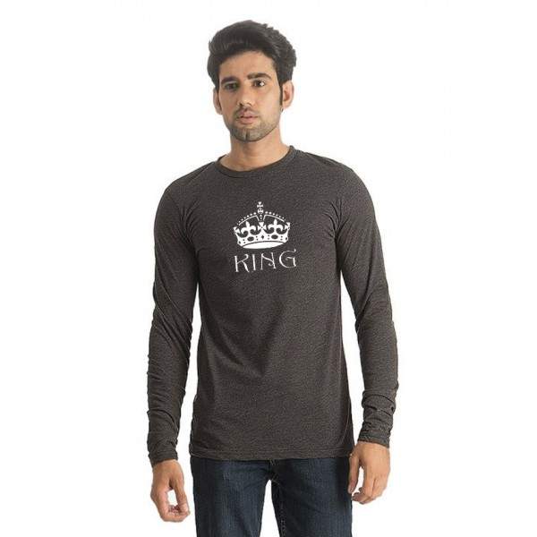 Charcoal Round Neck Full Sleeves KING Printed T shirt