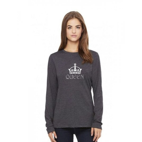 Charcoal Round Neck Full Sleeves Queen Printed Cotton T shirt