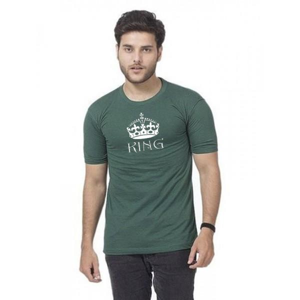 Green Round Neck Half Sleeves KING Printed T shirt