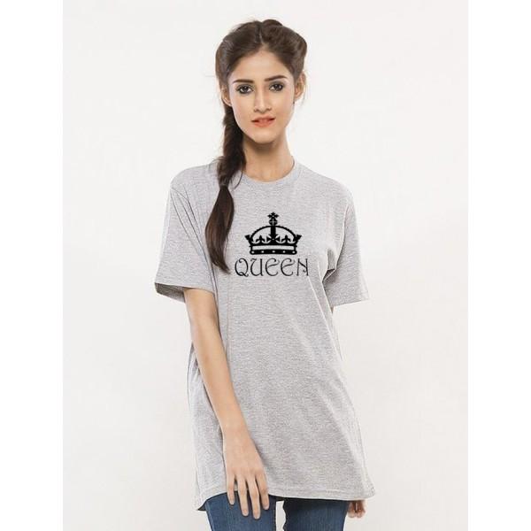 Heather Grey Round Neck Half Sleeves Queen Printed T shirt