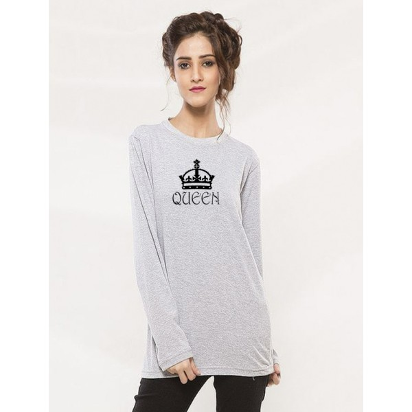 Heather Grey Round Neck Full Sleeves Queen Printed T shirt