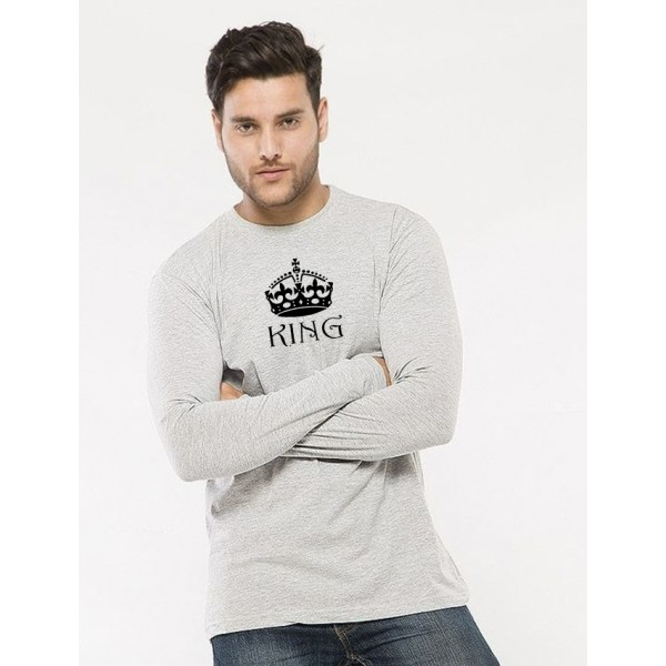 Heather Grey Round Neck Full Sleeves KING Printed T shirt