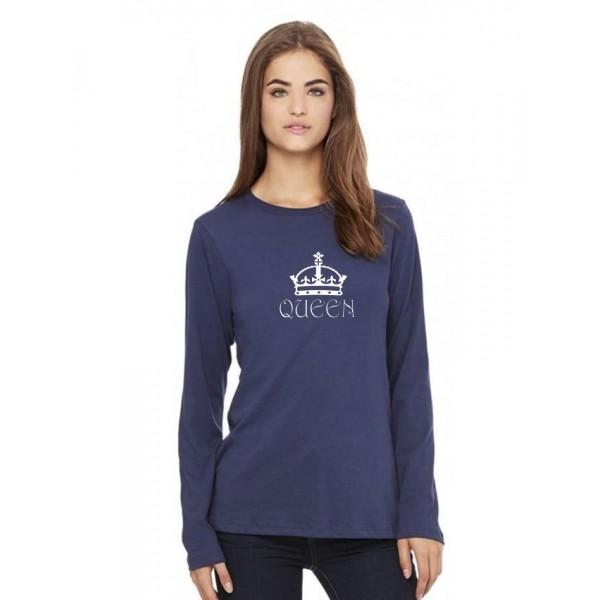 Navy Blue QUEEN Printed Cotton T shirt
