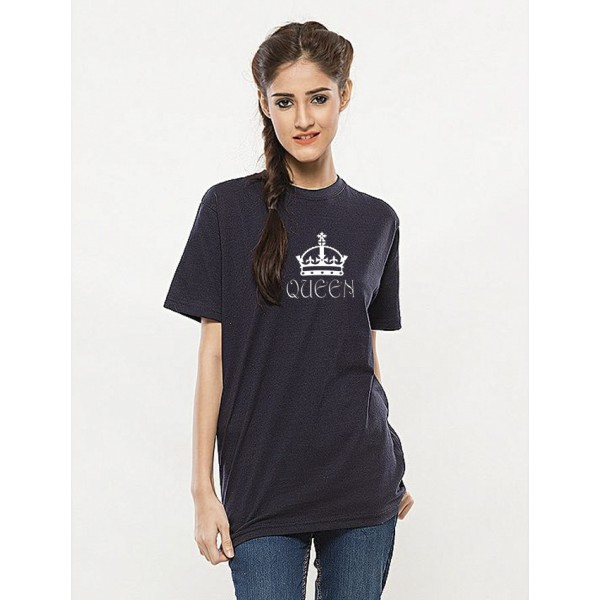 Navy Blue Round Neck Half Sleeves Queen Printed Cotton T shirt