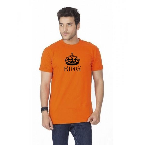 Orange KING Printed Cotton T shirt For Him