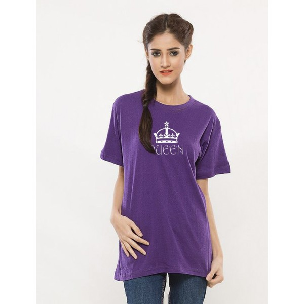 Purple Queen Printed Cotton T shirt For Her