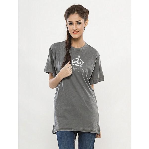 Steel Grey Round Neck Half Sleeves QUEEN Printed T shirt