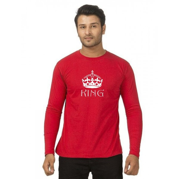 Red Round Neck Full Sleeves KING Printed T shirt