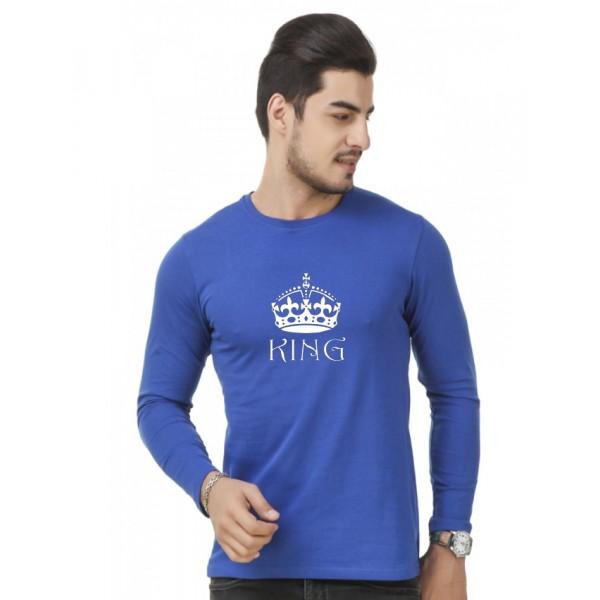 Royal Blue Round Neck Full Sleeves KING Printed T shirt