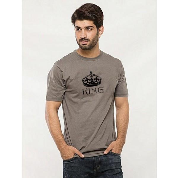 Steel Grey Round Neck Half Sleeves KING Printed T shirt