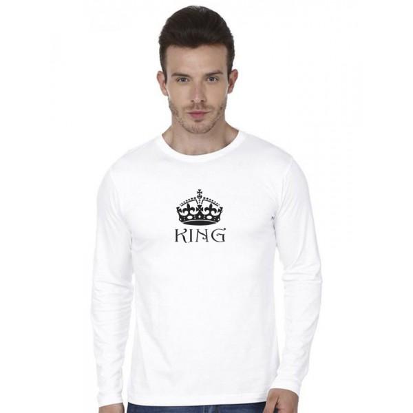 White Round Neck Full Sleeves KING Printed T shirt