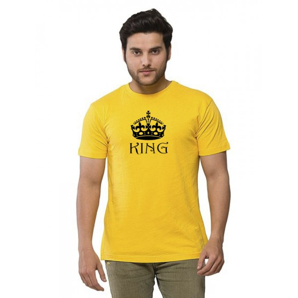 Yellow Round Neck Half Sleeves KING Printed T shirt