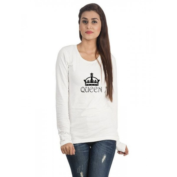 White Round Neck Full Sleeves QUEEN Printed T Shirt