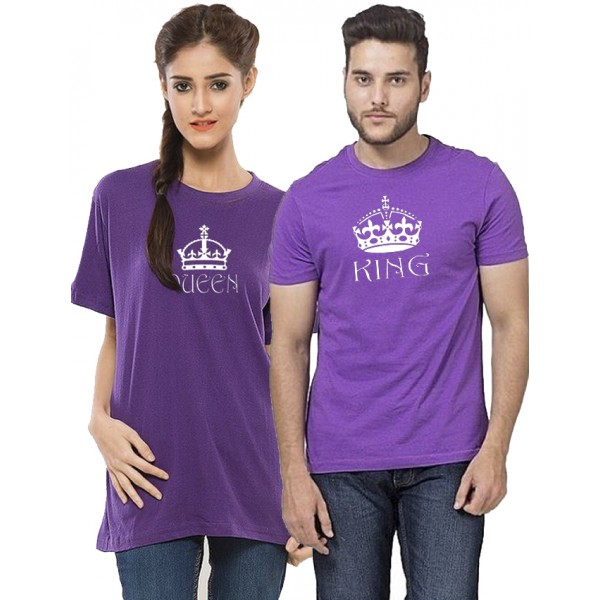 Purple KING QUEEN Prited Bundle For Couple