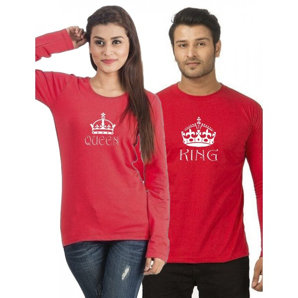 Red Round Neck KING QUEEN Printed Bundle For Couple
