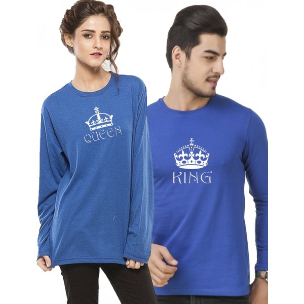 Royal Blue KING QUEEN Printed Bundle For Couple