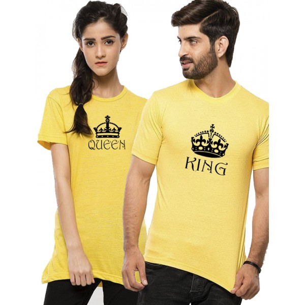 Yellow Half Sleeves KING QUEEN Printed Bundle For Couple
