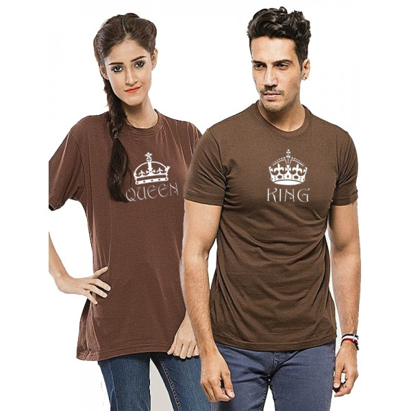 Brown KING QUEEN Printed Cotton T shirts Bundle For Couple