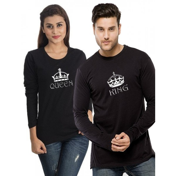 Black KING QUEEN Printed T shirts Bundle For Couple
