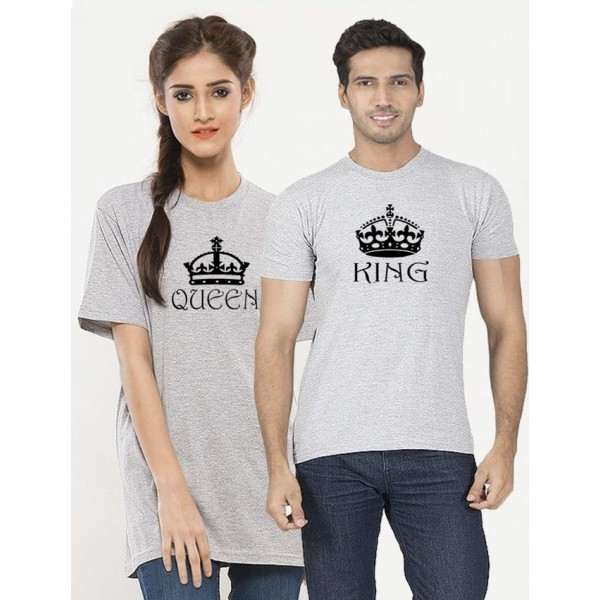 Heather Grey Half Sleeves KING QUEEN Printed Bundle For Couple