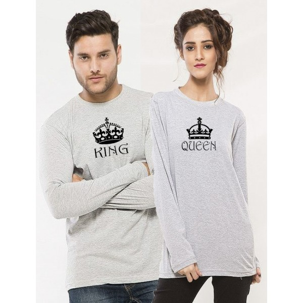 Heather Grey KING QUEEN Printed Cotton T shirt Bundle For Couple