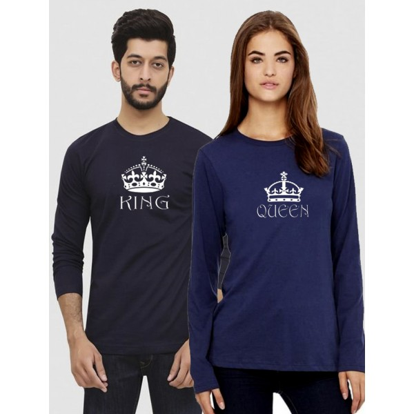 Navy Blue KING QUEEN Printed Bundle For Couple
