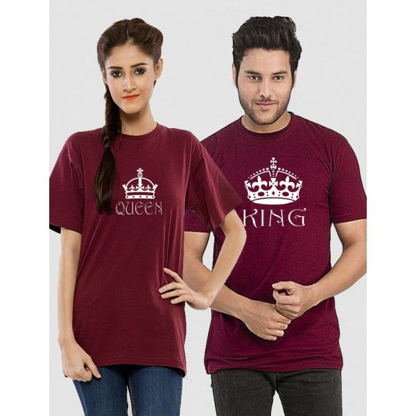 Maroon Half Sleeves KING QUEEN Printed Cotton T shirt Bundle For Couple