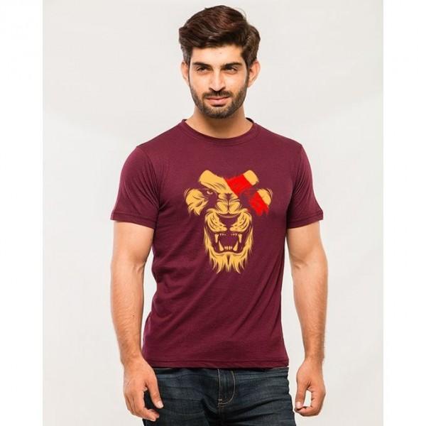 Maroon Lion Roar Graphics T shirt