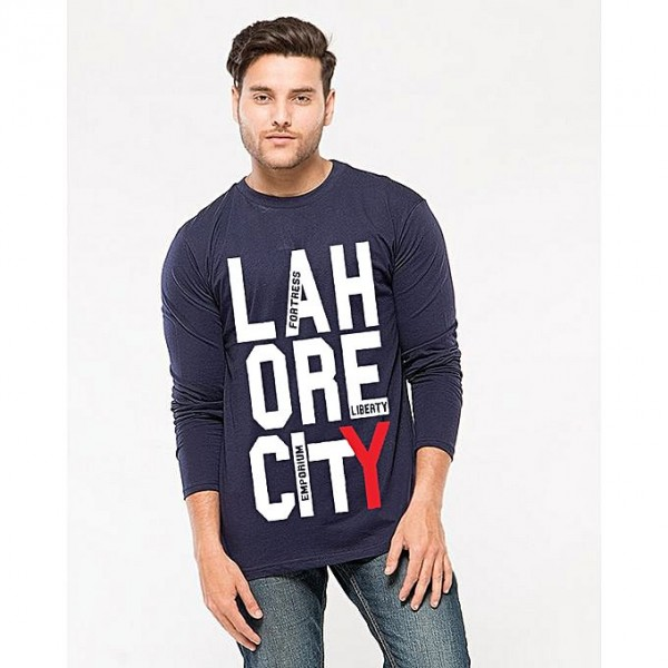 Navy Blue Lahore City T shirt For Him