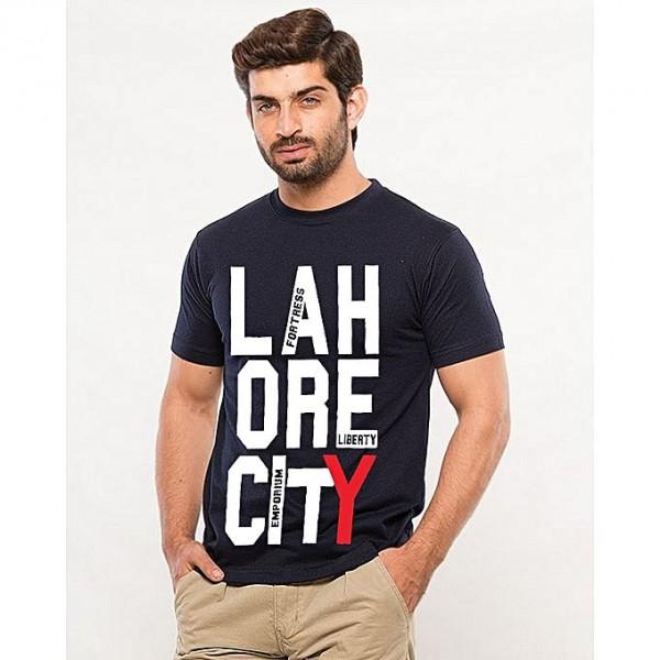 Navy Blue Lahore City Printed T shirt