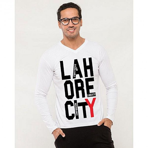 Lahore City Printed T shirt For Him in white color