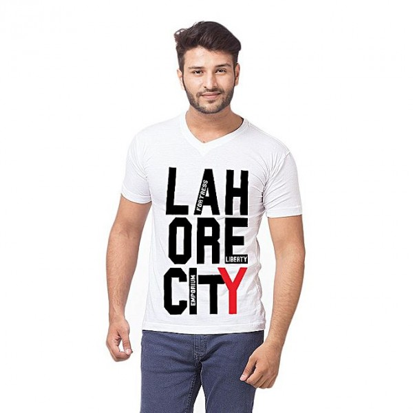 White Lahore City Printed T shirt For Him