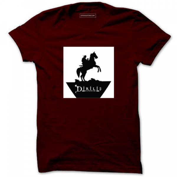 Maroon Ertugrul Horse Printed Cotton T shirt For Him