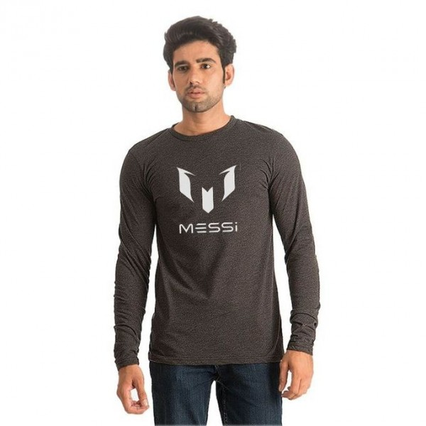 Charcoal Full Sleeves Messi Printed T shirt For HIm