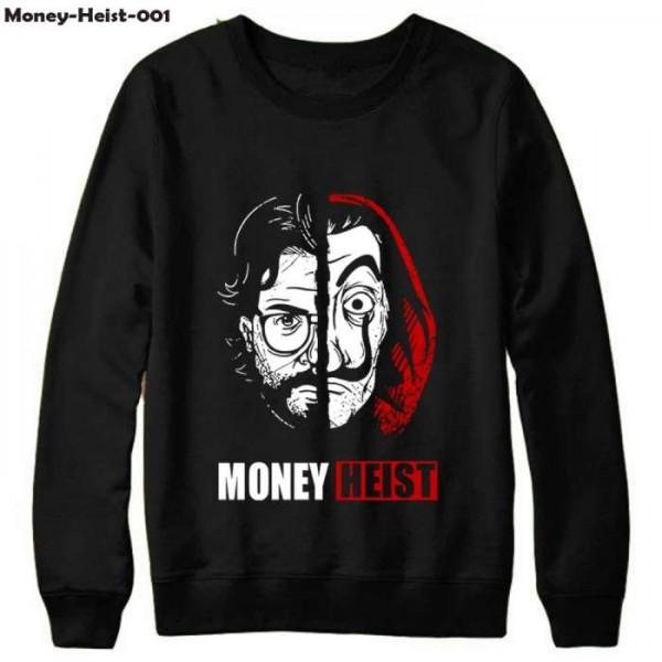 Black Money Heist Printed Cotton T shirt For Him