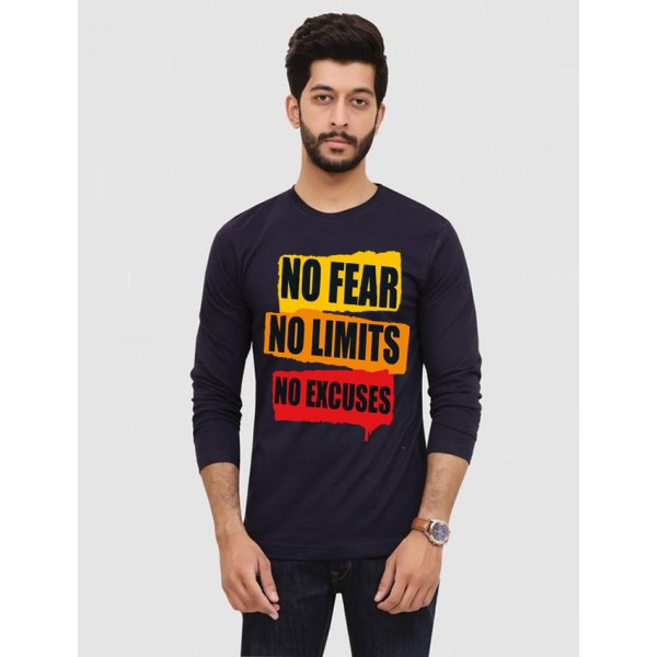 Navy Blue Round Neck Full Sleeves No Fear Printed T shirt