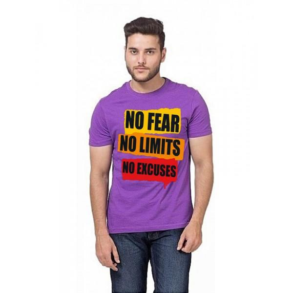 Purple Round Neck Half Sleeves No Fear Printed T shirt