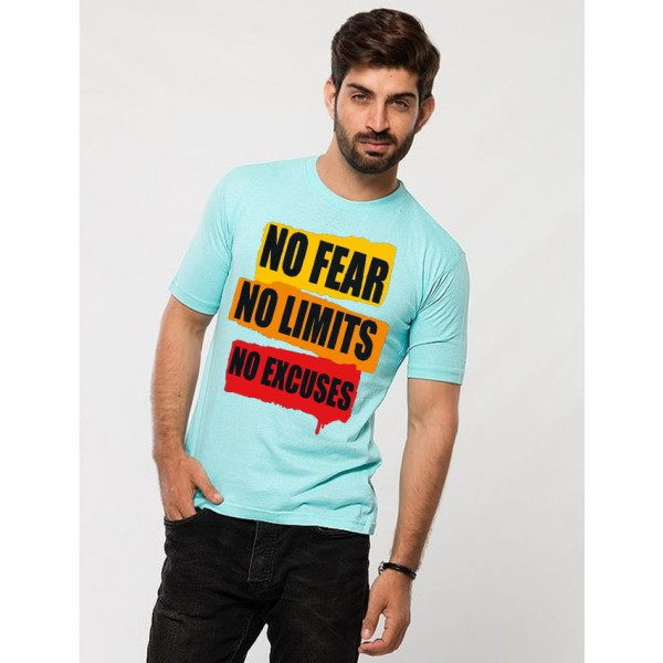 Turquoise Round Neck Half Sleeves No Fear Printed T shirt