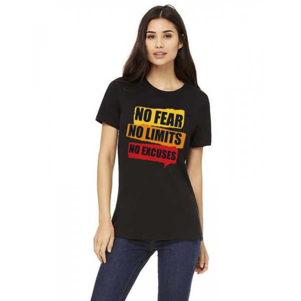 Black Round Neck Half Sleeves No Fear Printed T shirt For Her