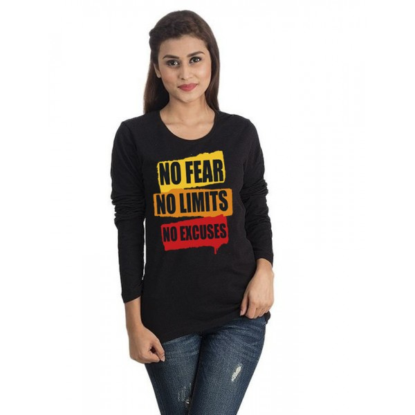 Black Round Neck Full Sleeves No Fear Printed T shirt For Her