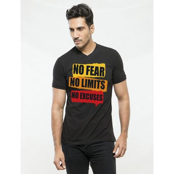 Black Round Neck Half Sleeves No Fear Printed T shirt