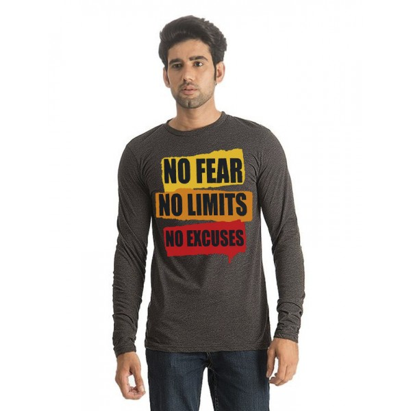 Charcoal Round Neck Full Sleeves No Fear Printed T shirt For Him