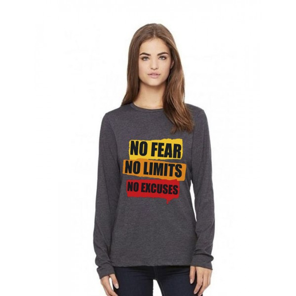 Charcoal Round Neck Full Sleeves No Fear Printed T shirt
