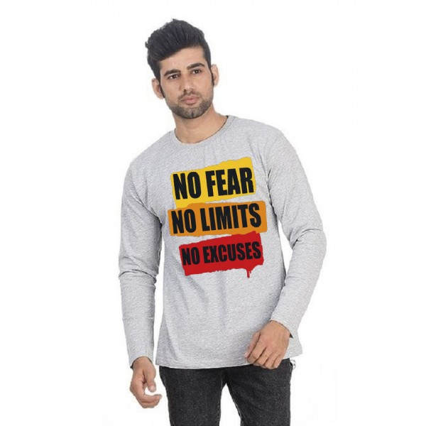 Heather Grey Round Neck Full Sleeves No Fear Printed T shirt