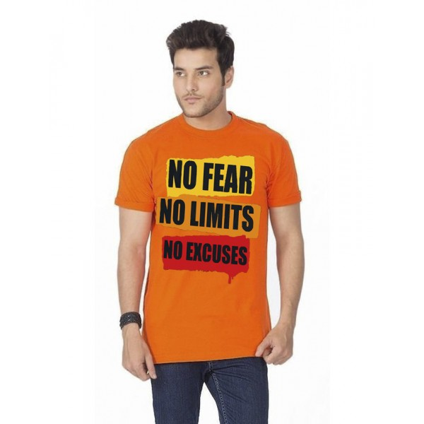 Orange No Fear Printed Cotton T shirt For Him