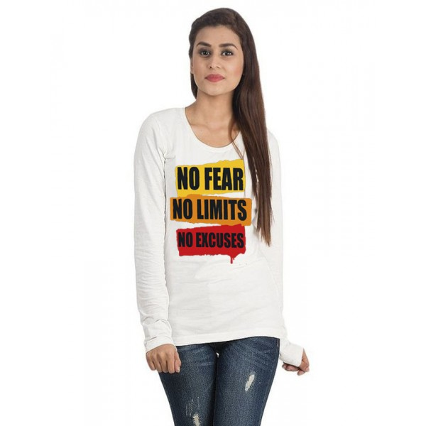 White Round Neck Full Sleeves No Fear Printed Cotton T shirt