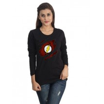Black Color Round Neck Scratch Flash Printed T shirt For Her