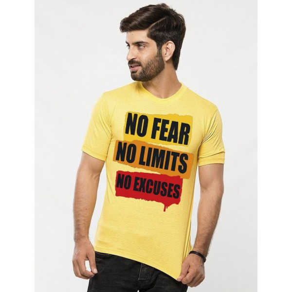 Yellow Round Neck Half Sleeves No Fear Printed T shirt