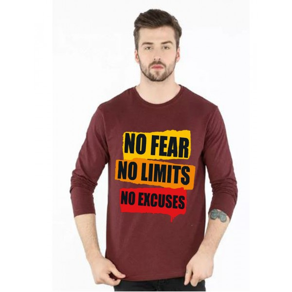 Maroon Round Neck No Fear Printed T shirt
