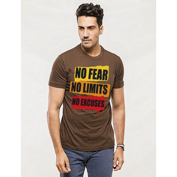 Brown Round Neck No Fear Printed T shirt